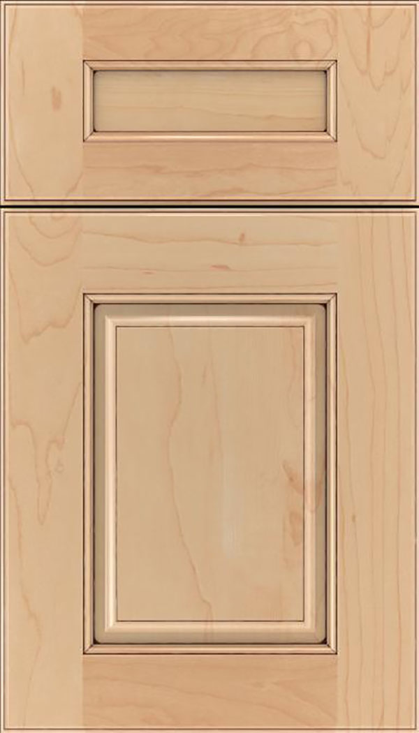 Whittington 5pc Maple raised panel cabinet door in Natural with Mocha glaze