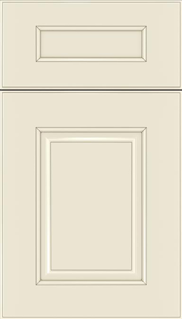 Whittington 5pc Maple raised panel cabinet door in Seashell with Smoke glaze