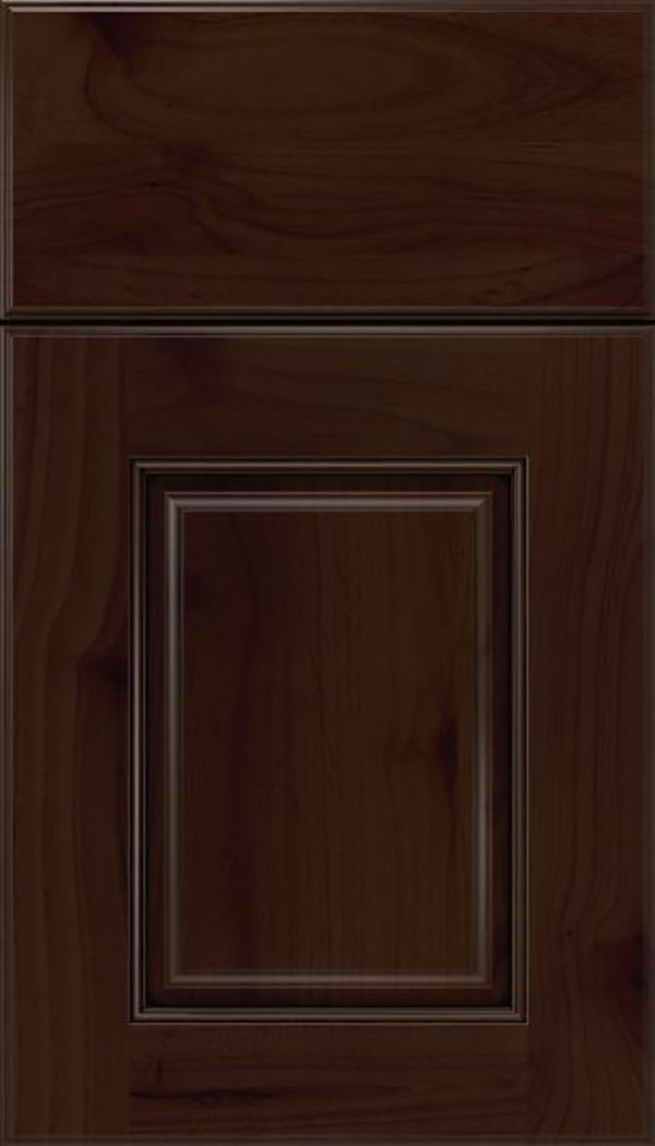 Whittington Alder raised panel cabinet door in Cappuccino with Black glaze