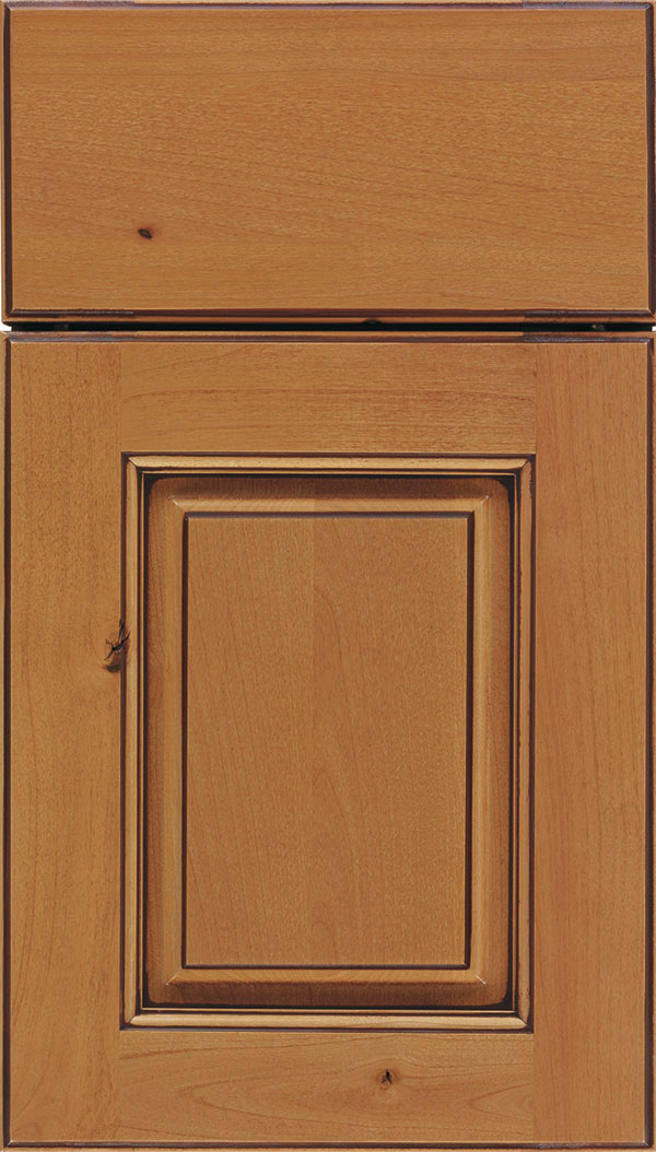 Whittington Alder raised panel cabinet door in Ginger with Mocha glaze