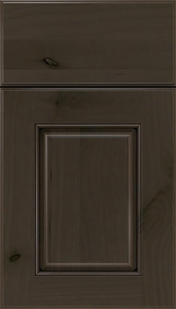 Whittington Alder raised panel cabinet door in Thunder with Black glaze