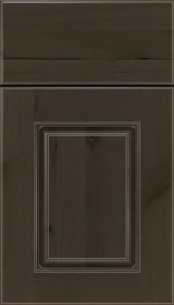 Whittington Alder raised panel cabinet door in Thunder with Pewter glaze