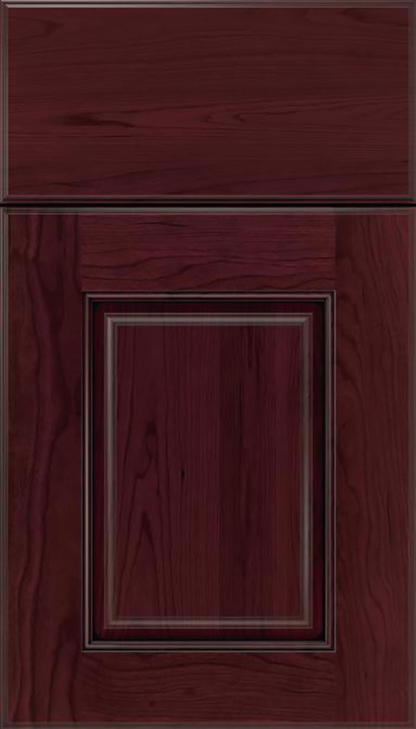 Whittington Cherry raised panel cabinet door in Bordeaux with Black glaze