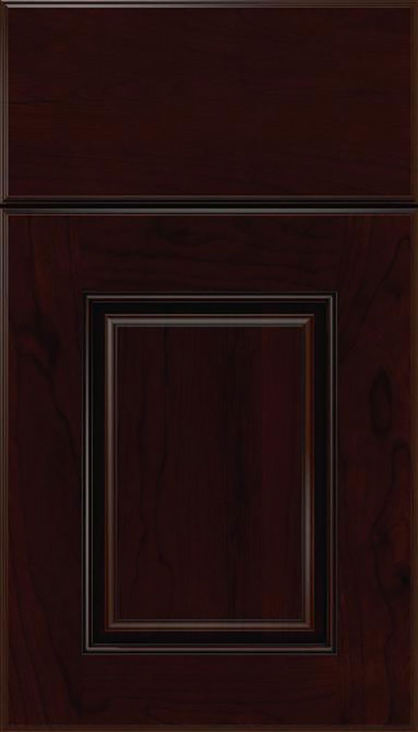 Whittington Cherry raised panel cabinet door in Cappuccino with Black glaze