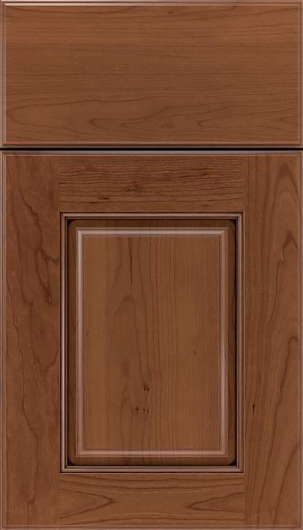 Whittington Cherry raised panel cabinet door in Nutmeg with Mocha glaze