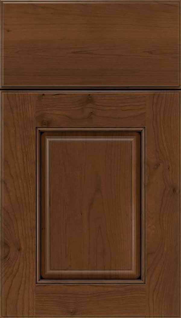 Whittington Cherry raised panel cabinet door in Sienna with Black glaze