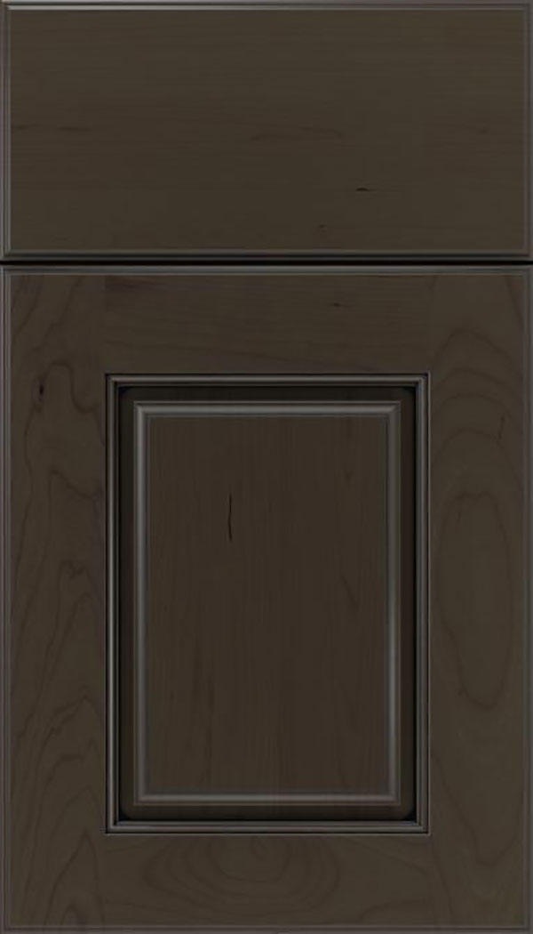 Whittington Cherry raised panel cabinet door in Thunder with Black glaze