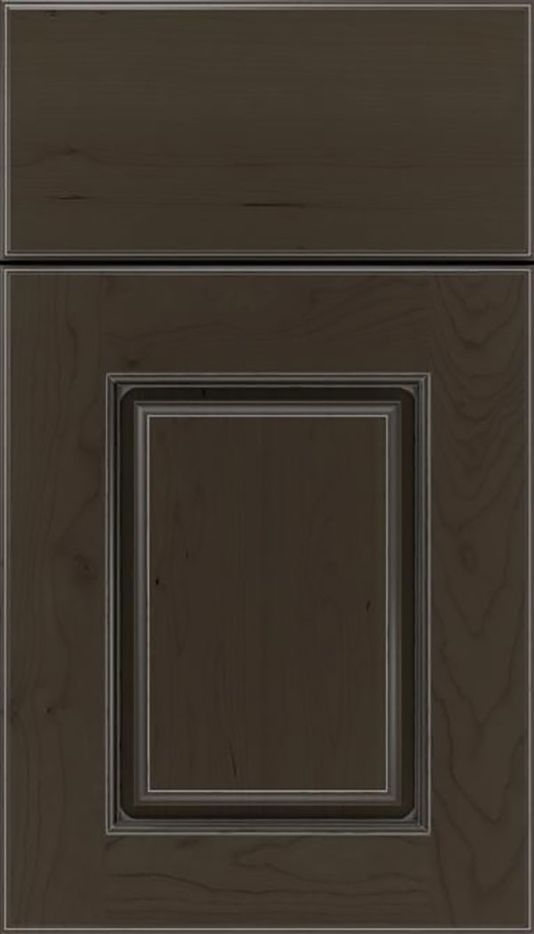 Whittington Cherry raised panel cabinet door in Thunder with Pewter glaze