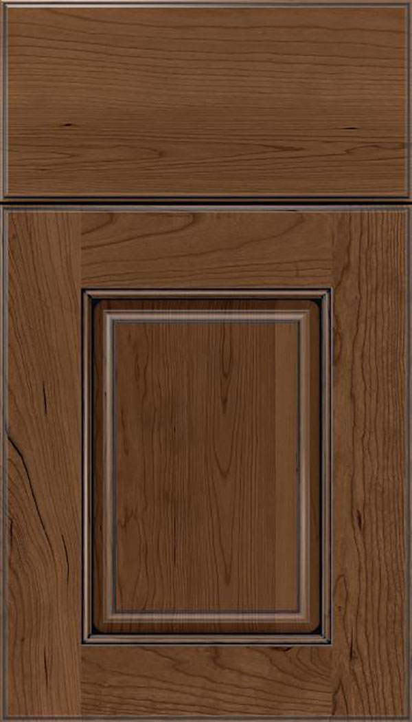 Whittington Cherry raised panel cabinet door in Toffee with Black glaze