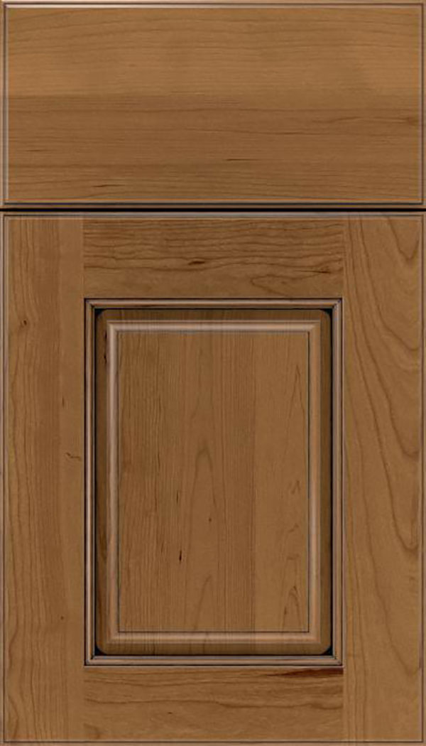 Whittington Cherry raised panel cabinet door in Tuscan with Black glaze