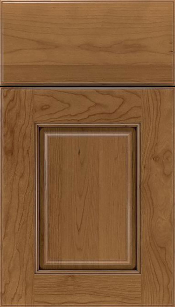 Whittington Cherry raised panel cabinet door in Tuscan with Mocha glaze