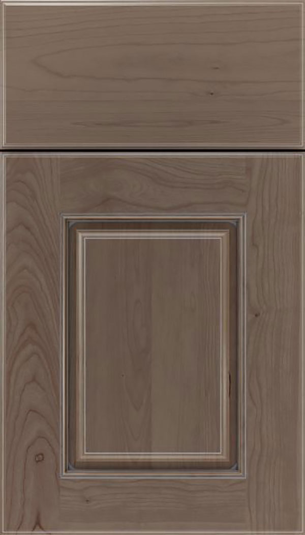 Whittington Cherry raised panel cabinet door in Winter with Pewter glaze