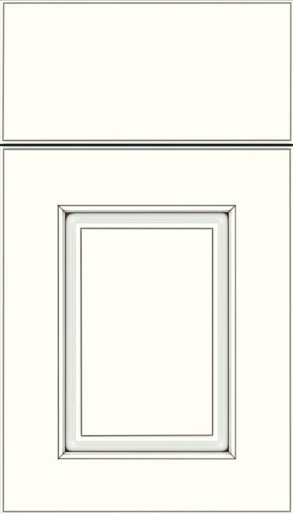 Whittington Maple raised panel cabinet door in Alabaster with Smoke glaze