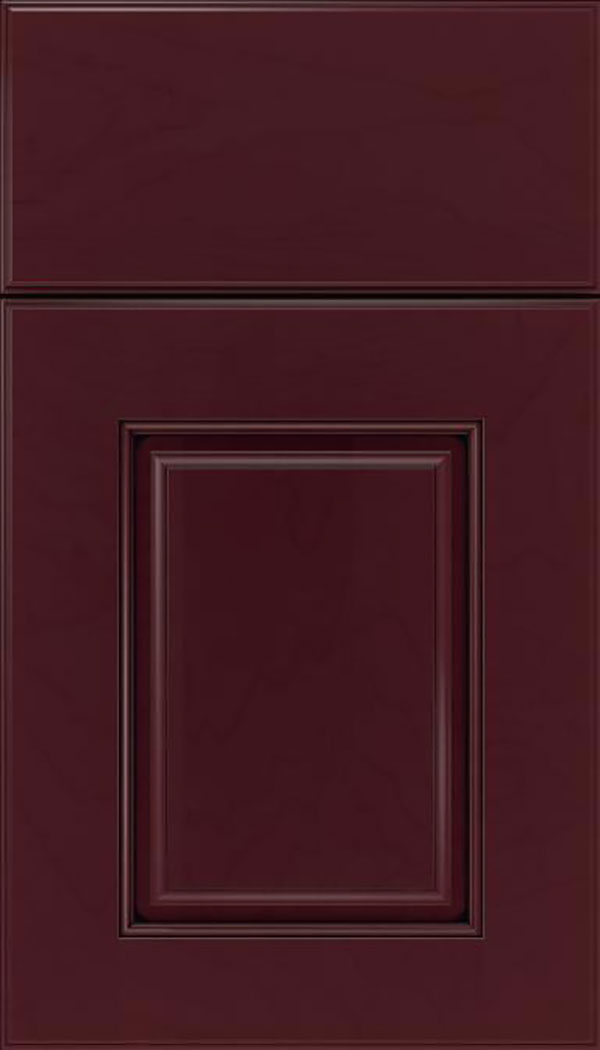 Whittington Maple raised panel cabinet door in Bordeaux with Black glaze