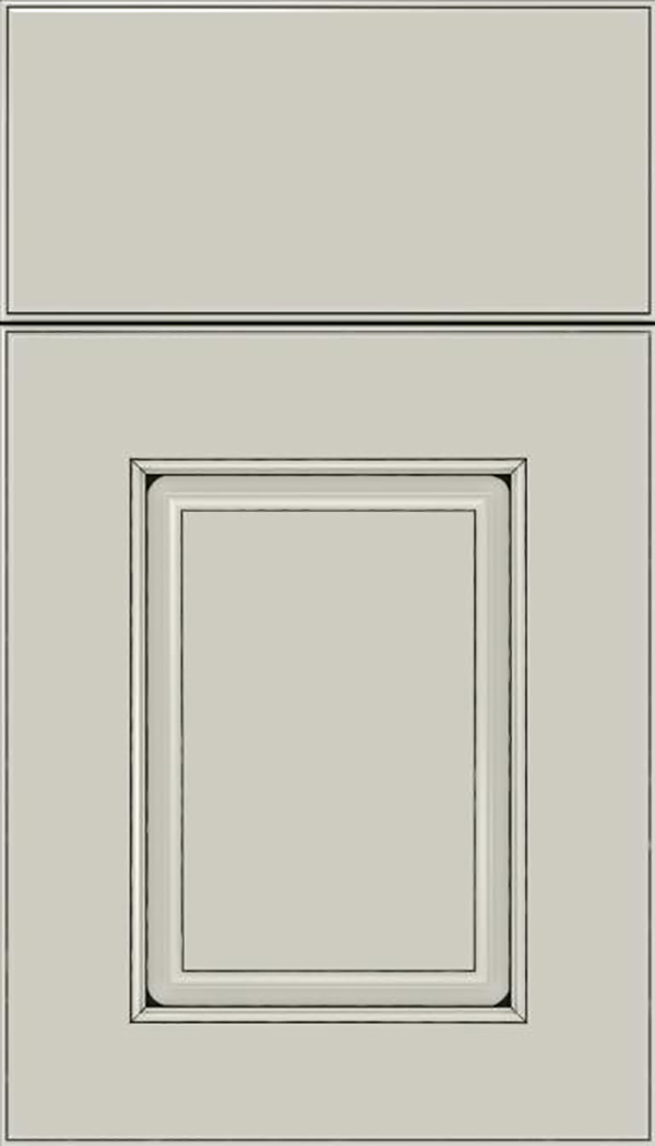 Whittington Maple raised panel cabinet door in Cirrus with Black glaze