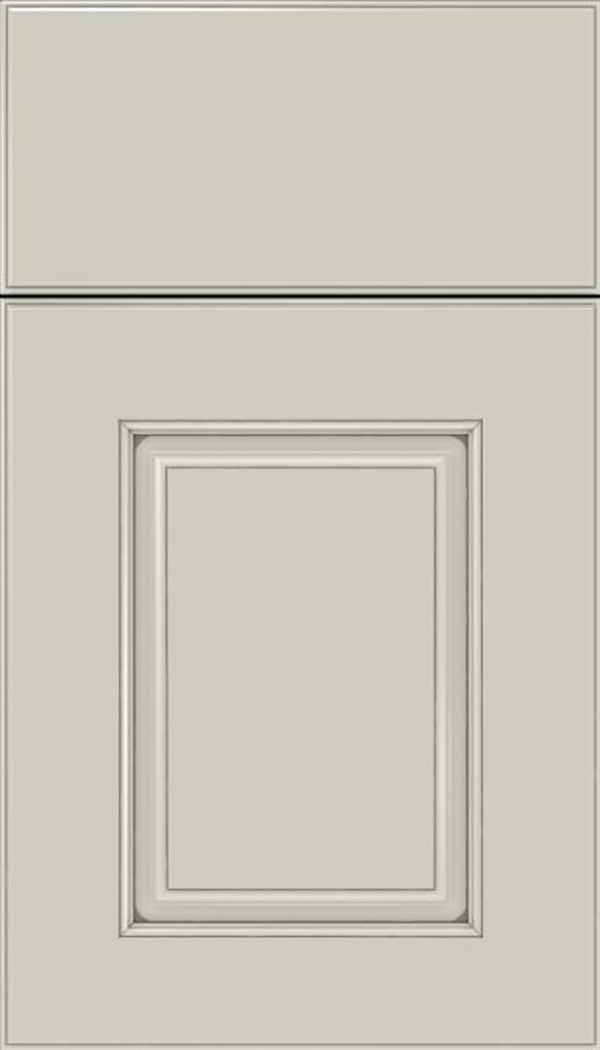 Whittington Maple raised panel cabinet door in Cirrus with Pewter glaze