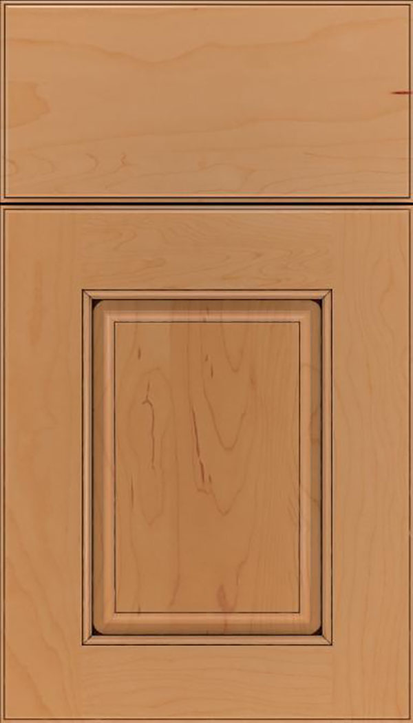Whittington Maple raised panel cabinet door in Ginger with Black glaze