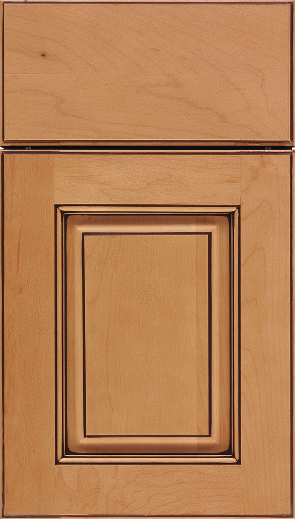 Whittington Maple raised panel cabinet door in Ginger with Mocha glaze