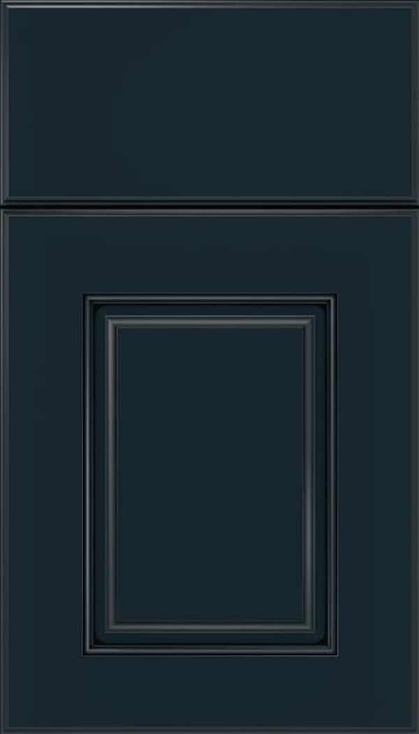Whittington Maple raised panel cabinet door in Gunmetal Blue with Black glaze
