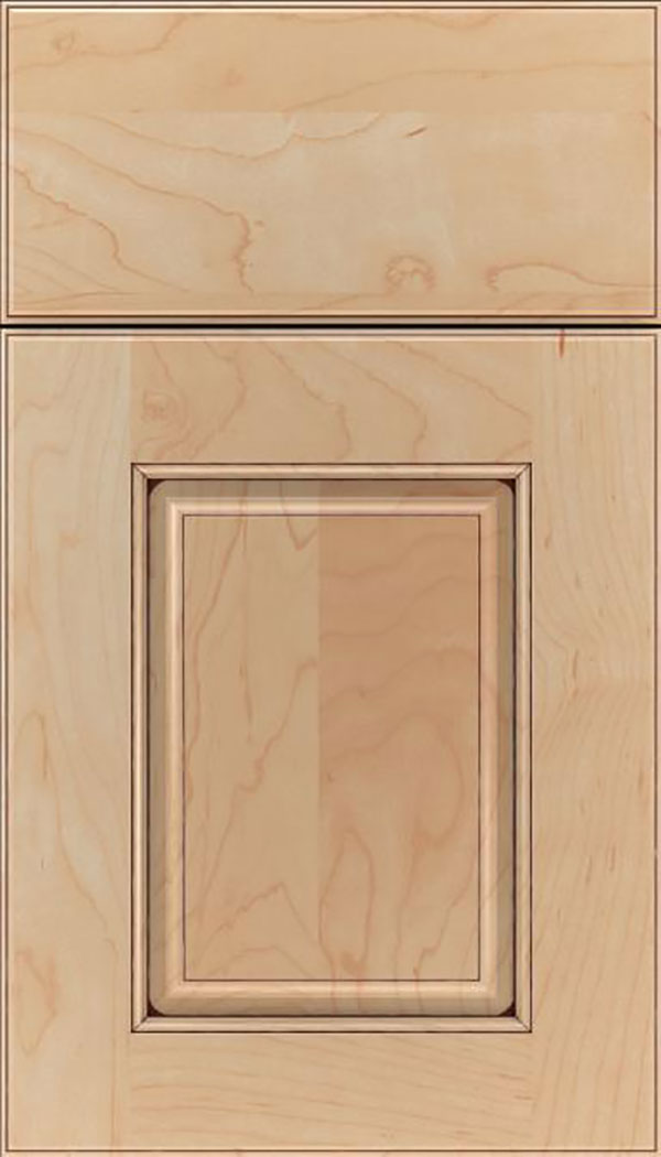 Whittington Maple raised panel cabinet door in Natural with Mocha glaze