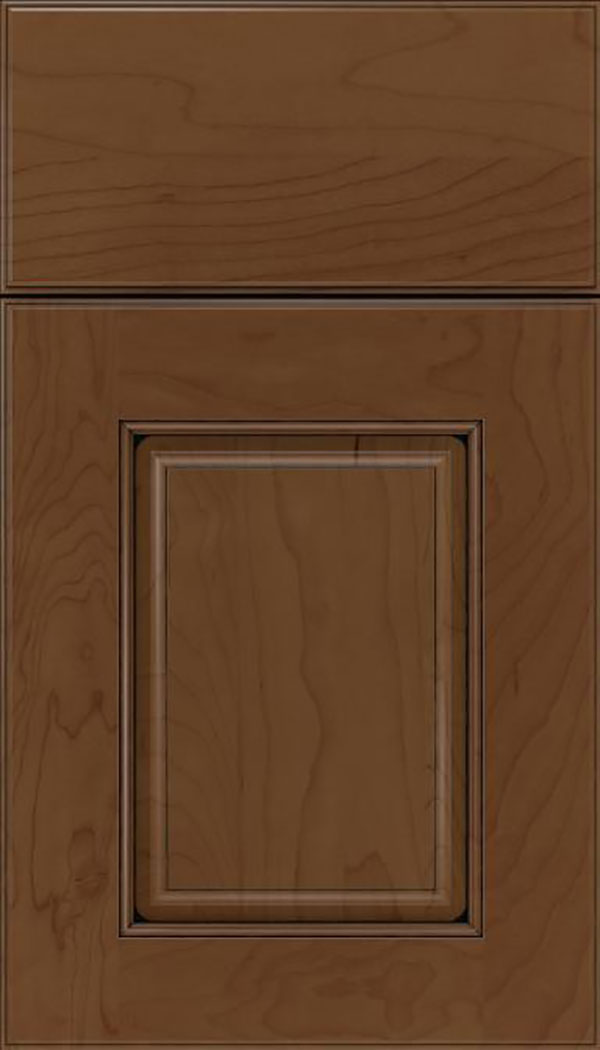 Whittington Maple raised panel cabinet door in Sienna with Black glaze