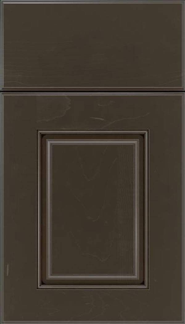 Whittington Maple raised panel cabinet door in Thunder with Black glaze