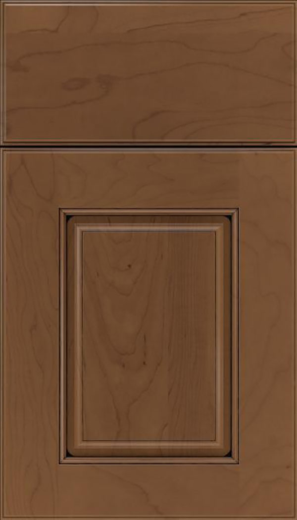 Whittington Maple raised panel cabinet door in Toffee with Black glaze