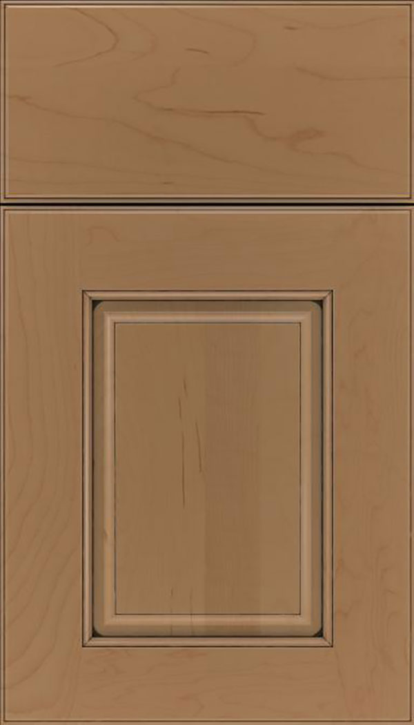 Whittington Maple raised panel cabinet door in Tuscan with Black glaze
