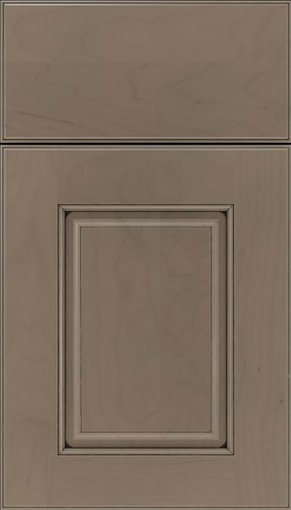 Whittington Maple raised panel cabinet door in Winter with Black glaze