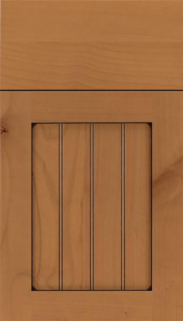 Winfield Alder beadboard cabinet door in Ginger with Black glaze
