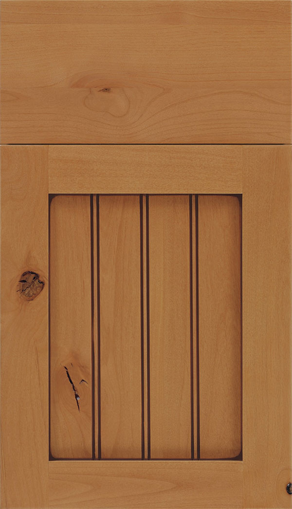 Winfield Alder beadboard cabinet door in Ginger with Mocha glaze