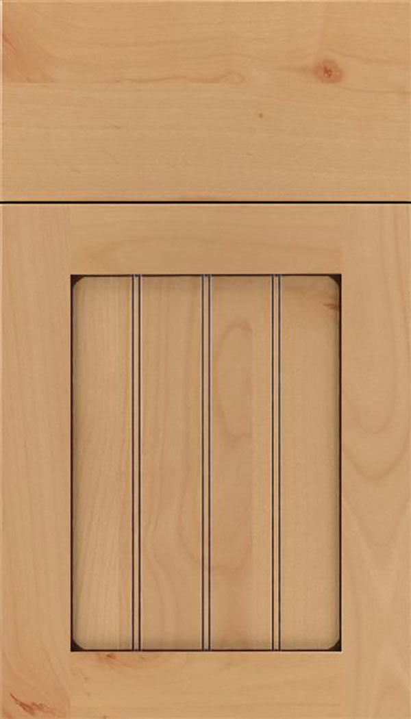 Winfield Alder beadboard cabinet door in Natural with Mocha glaze