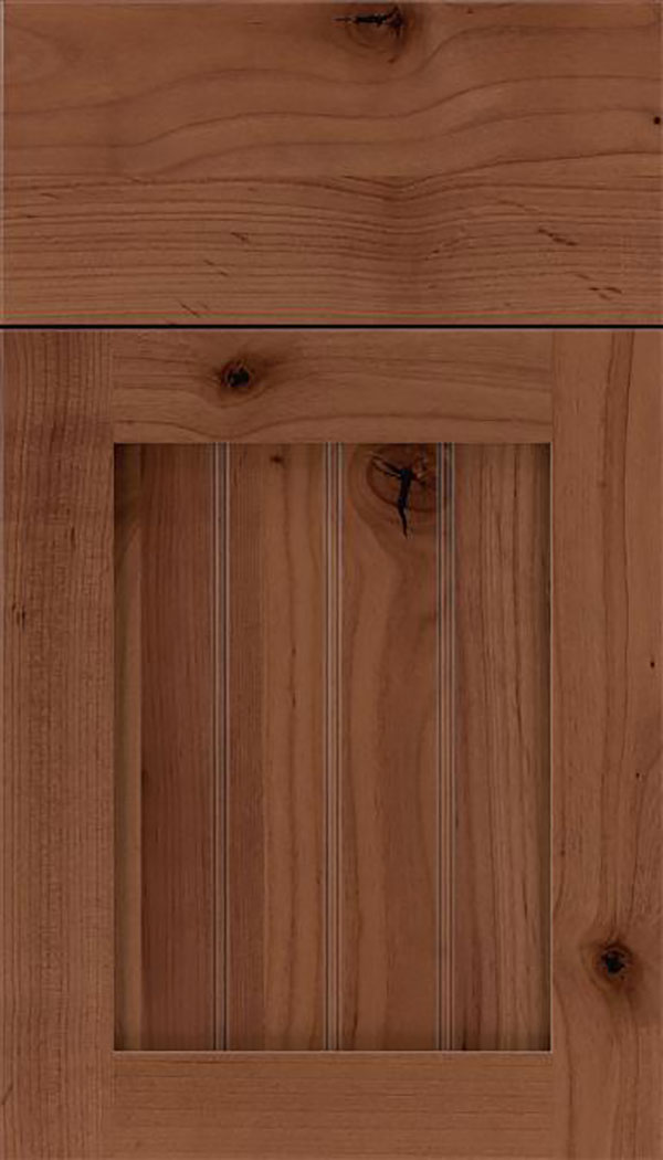 Winfield Alder beadboard cabinet door in Nutmeg