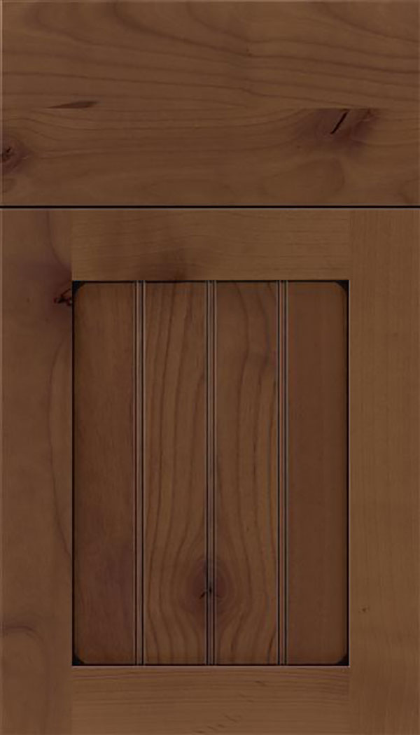 Winfield Alder beadboard cabinet door in Sienna with Black glaze