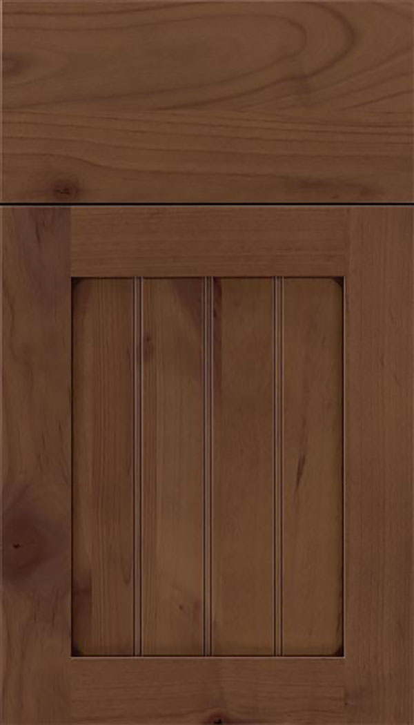 Winfield Alder beadboard cabinet door in Sienna with Mocha glaze