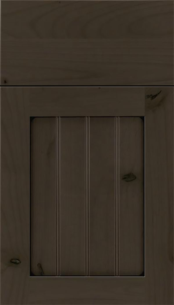 Winfield Alder beadboard cabinet door in Thunder with Black glaze