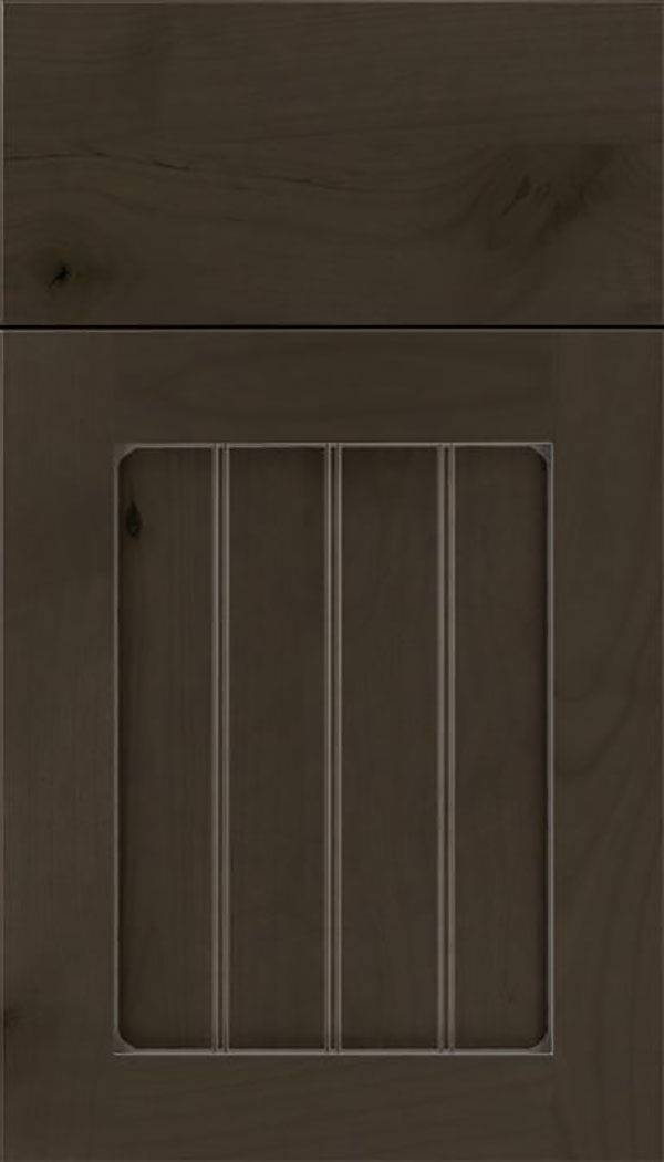 Winfield Alder beadboard cabinet door in Thunder with Pewter glaze
