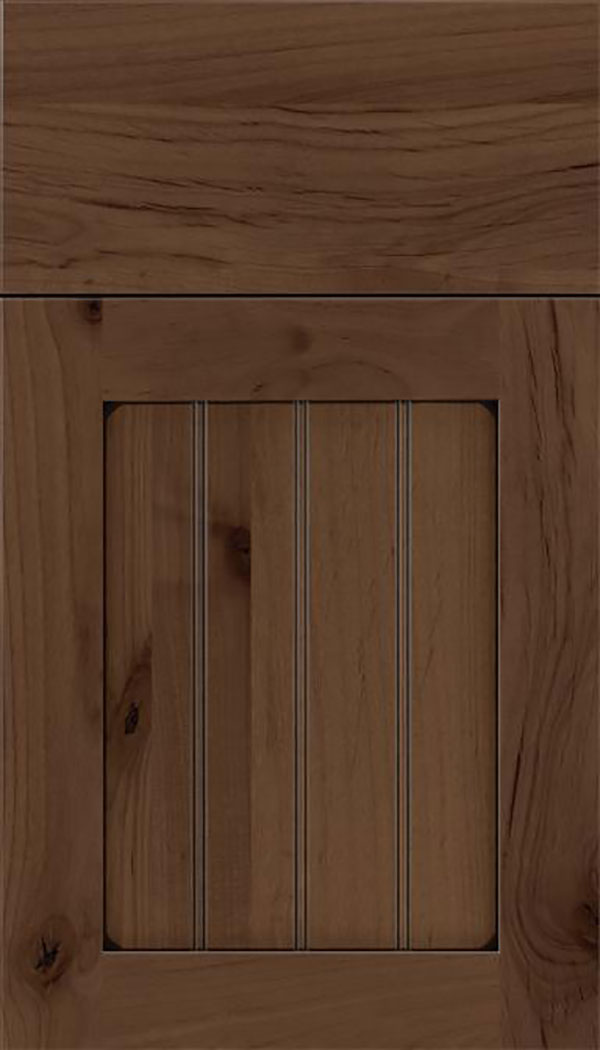 Winfield Alder beadboard cabinet door in Toffee with Black glaze