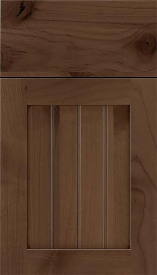 Winfield Alder beadboard cabinet door in Toffee with Mocha glaze
