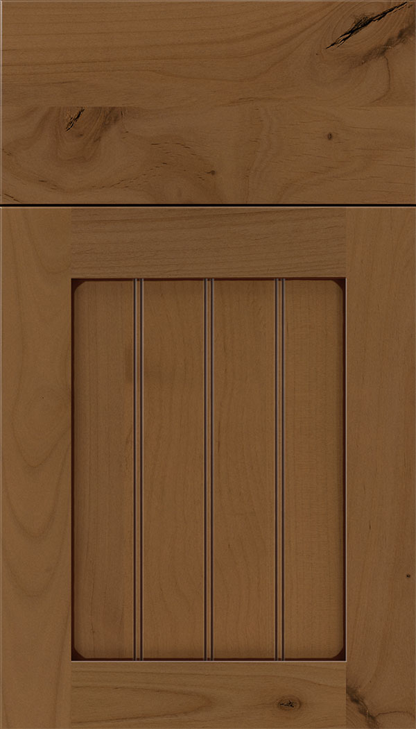 Winfield Alder beadboard cabinet door in Tuscan with Mocha glaze