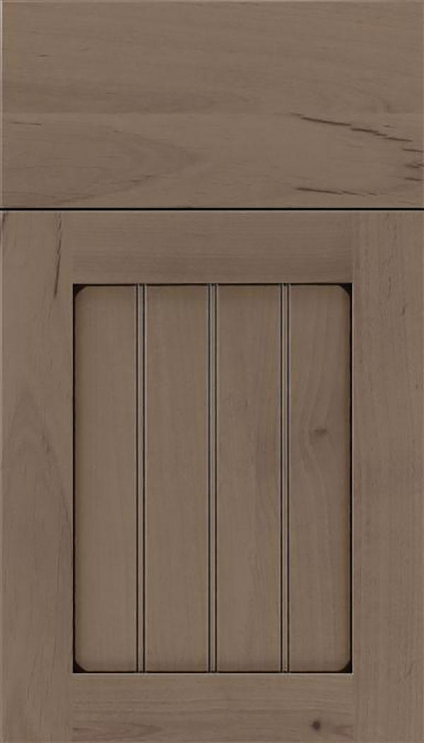 Winfield Alder beadboard cabinet door in Winter with Black glaze