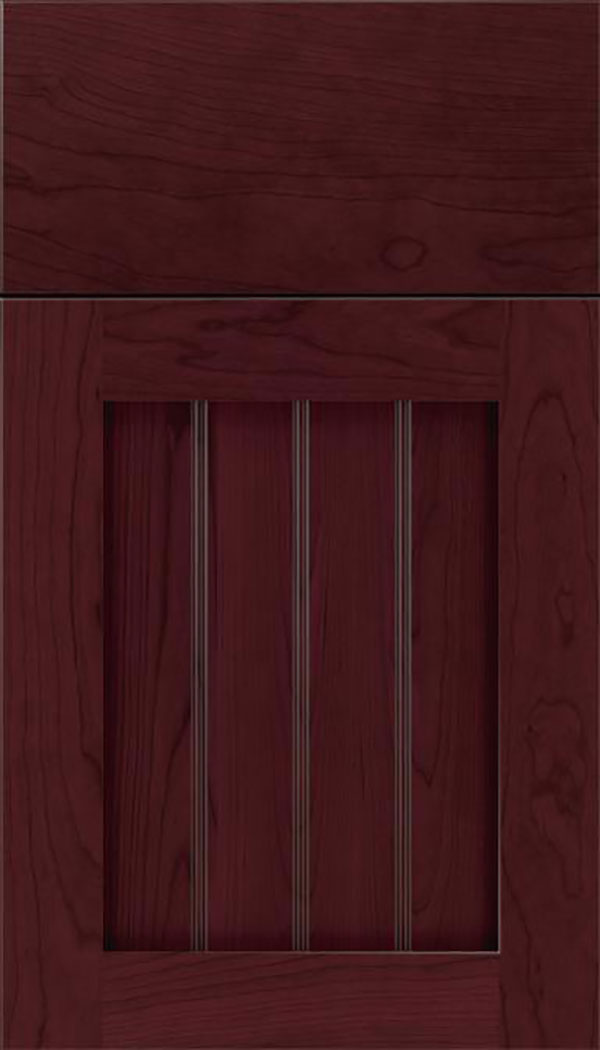 Winfield Cherry beadboard cabinet door in Bordeaux