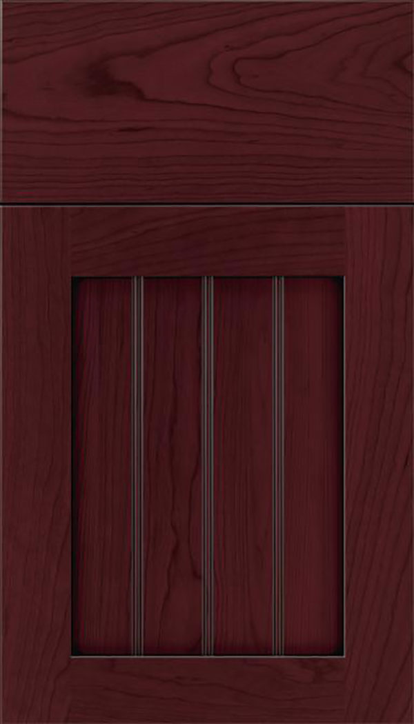 Winfield Cherry beadboard cabinet door in Bordeaux with Black glaze