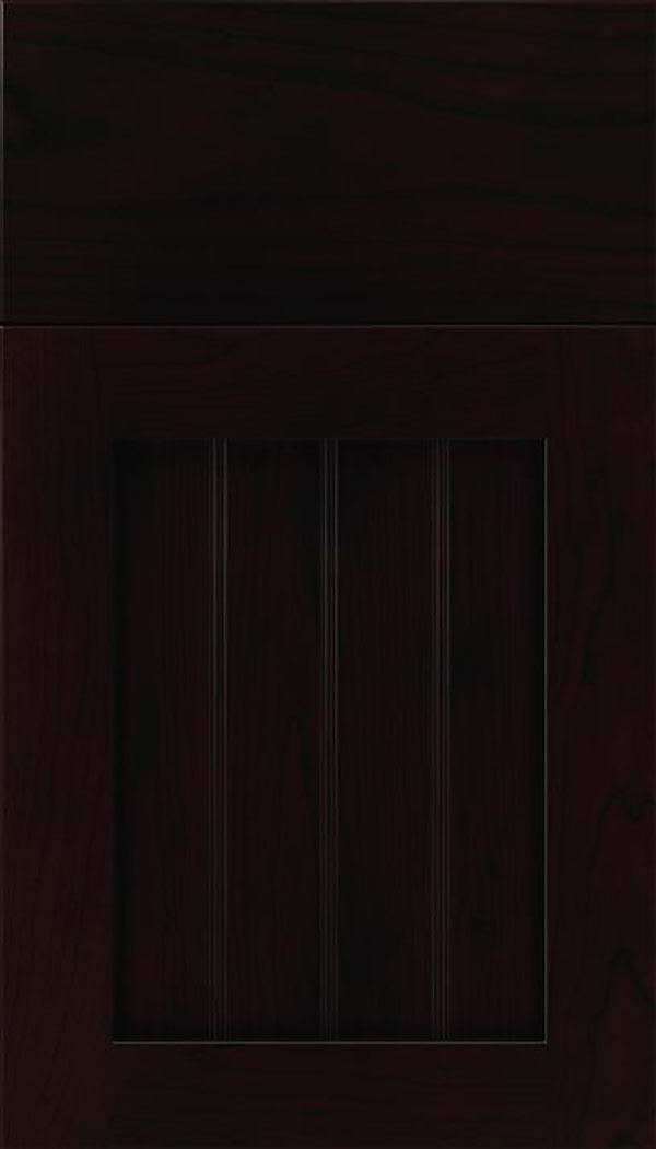 Winfield Cherry beadboard cabinet door in Espresso with Black glaze