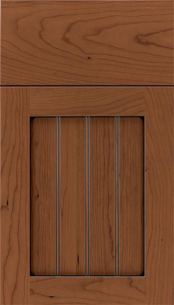 Winfield Cherry beadboard cabinet door in Nutmeg with Black glaze