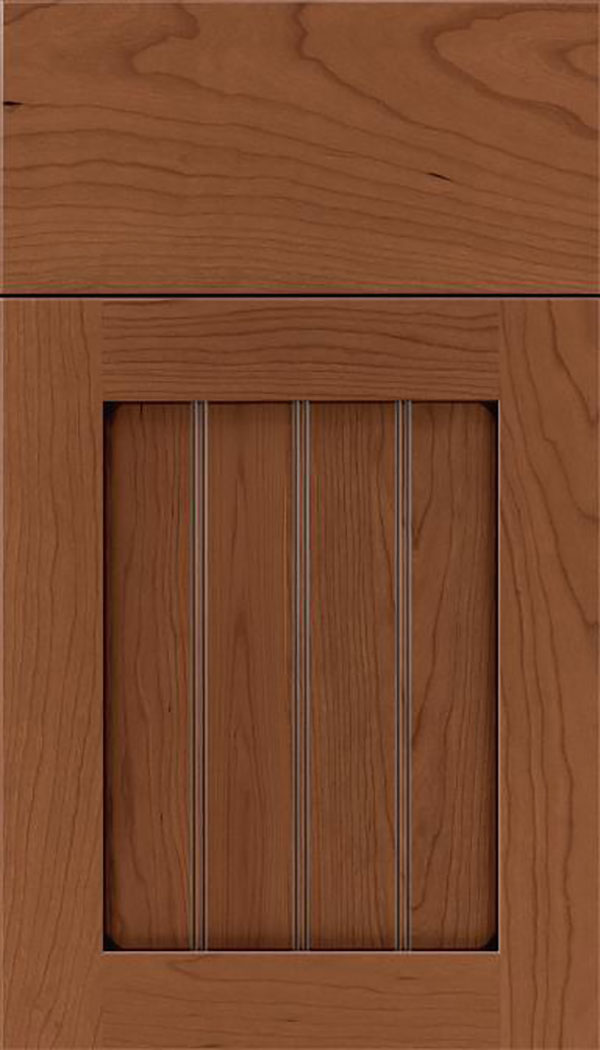 Winfield Cherry beadboard cabinet door in Nutmeg with Mocha glaze