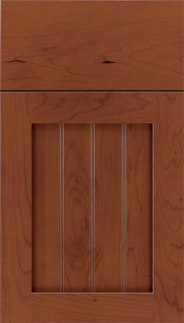 Winfield Cherry beadboard cabinet door in Russet