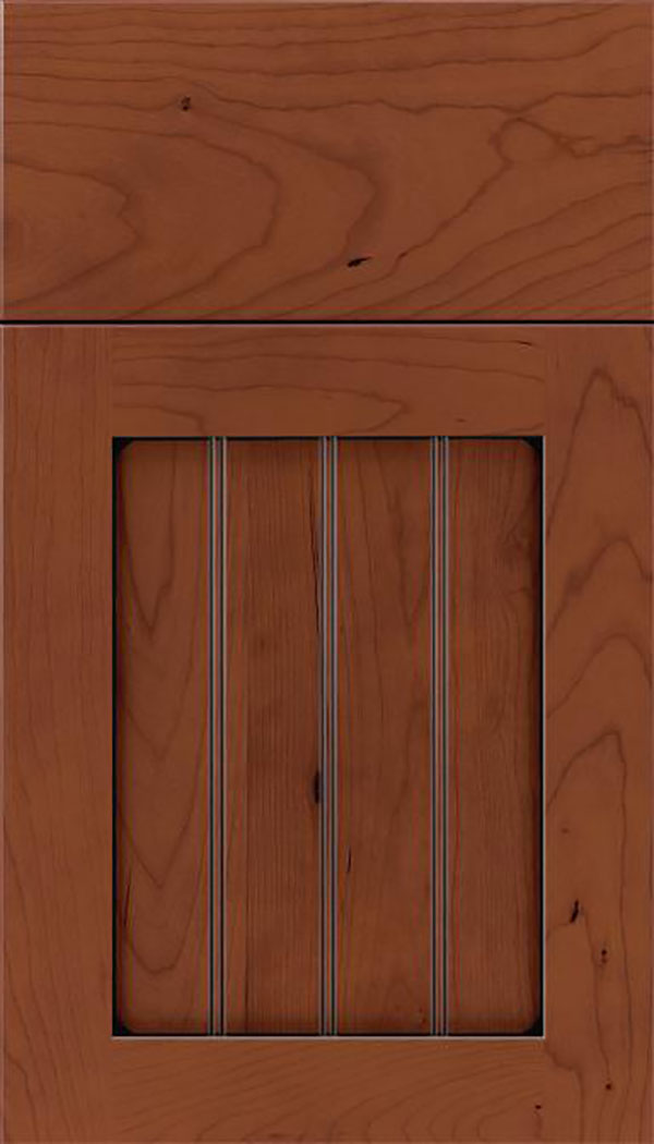Winfield Cherry beadboard cabinet door in Russet with Black glaze