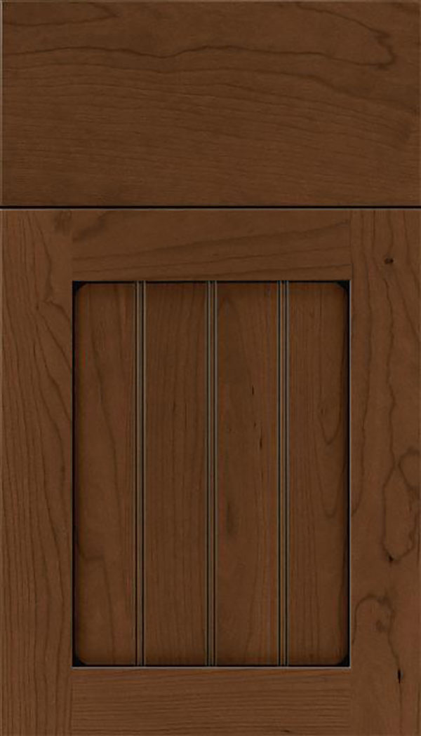 Winfield Cherry beadboard cabinet door in Sienna with Black glaze