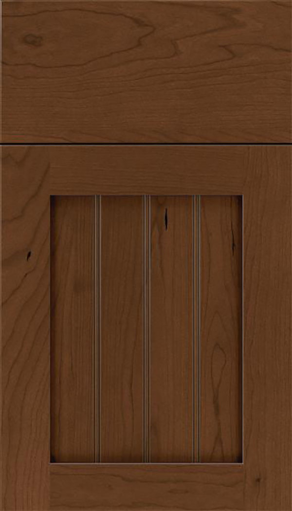 Winfield Cherry beadboard cabinet door in Sienna with Mocha glaze